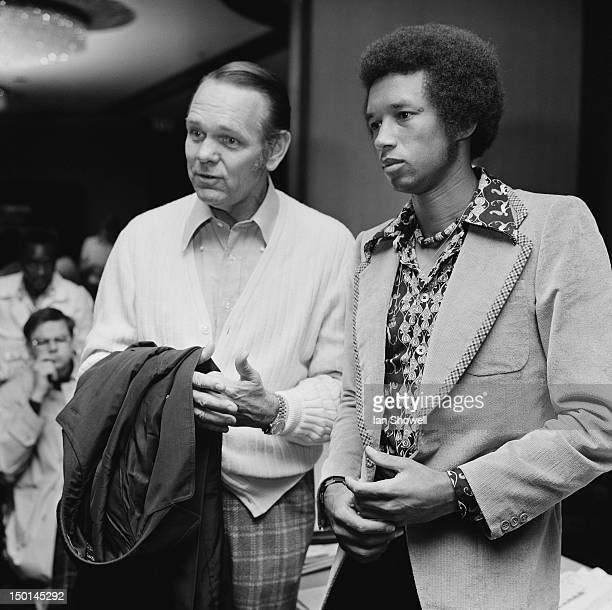 Executive Director of the Association of Tennis Professionals Jack Kramer and American tennis player Arthur Ashe at a meeting of the ATP in London...