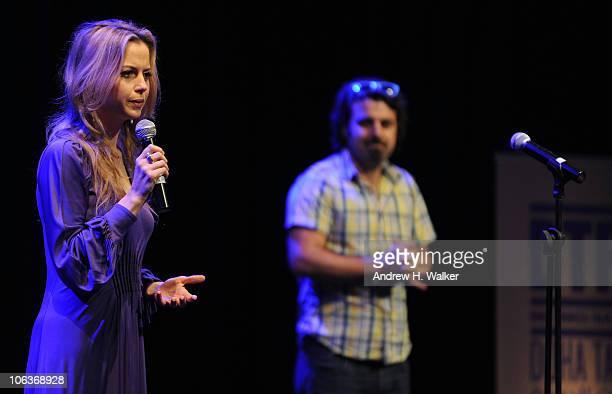 Executive Director of the Doha Tribeca Film Festival Amanda Palmer and director Scandar Copti speak at the Doha Talks A Celebration of 10Minute Films...
