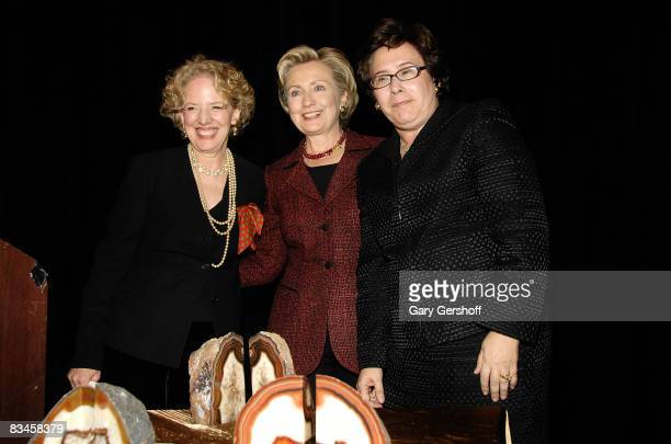 Executive director of the Feminist Press at City University of New York Gloria Jacobs US Senator Hillary Clinton and honoree Iris Weinshall attend...