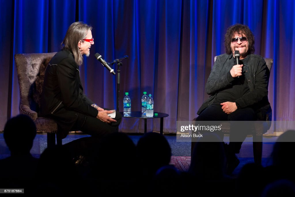 Executive Director of the Grammy Museum Scott Goldman and musician Jeff Lynne of ELO speak onstage during Reel to Reel: Jeff Lynne's ELO 'Wembley Or Bust' Featuring a Q&A with Jeff Lynne on November 16, 2017 in Los Angeles, California.