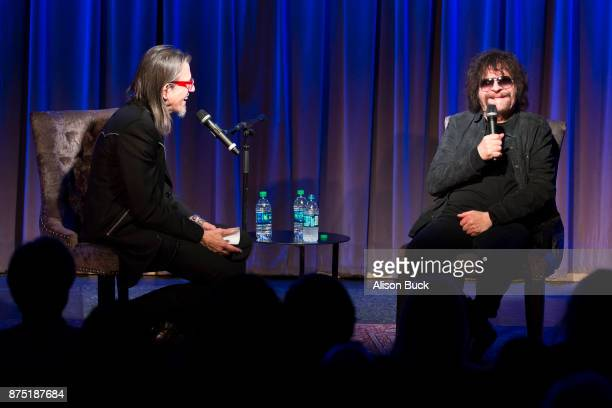 Executive Director of the Grammy Museum Scott Goldman and musician Jeff Lynne of ELO speak onstage during Reel to Reel Jeff Lynne's ELO 'Wembley Or...