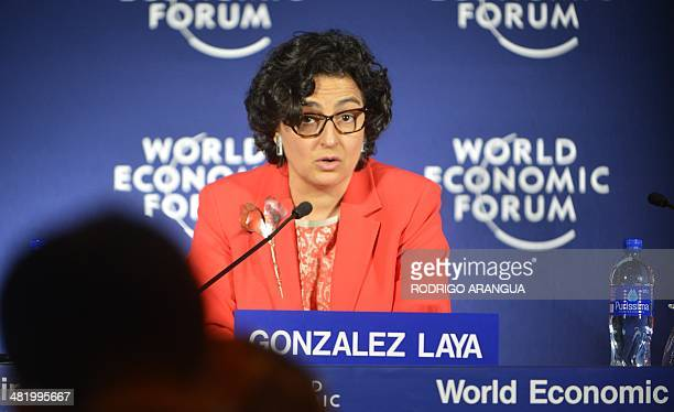 Executive Director of the International Trade Centre Arancha Gonzalez answers questions during a press conference next to the Founder and Group Chief...