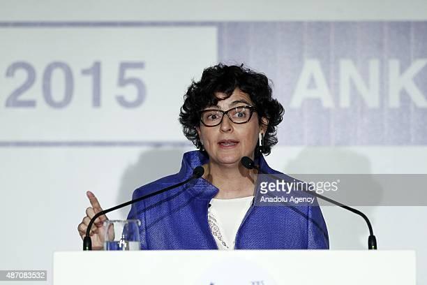 Executive Director of the International Trade Centre Arancha Gonzalez gives a speech during the Women20 Turkey Official Lanuch in Ankara Turkey on...