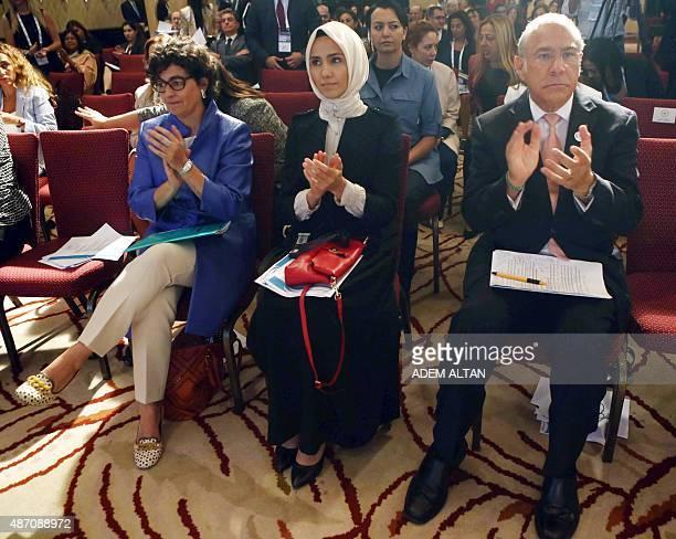 Executive Director of the International Trade Centre Arancha Gonzalez Women and Democracy Association Vice President Sumeyye Erdogan and...