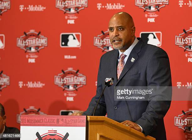 Executive Director of the Major League Baseball Players Association Tony Clark talks to reporters during the MLB All Star Media Availability Day at...