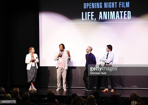 Executive Director of the Nantucket Film Festival Mystelle Brabbee Director Roger Ross Williams Basil Tsiokos and Bill Curran give an introduction at...