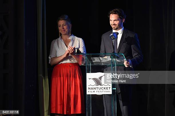 Executive Director of the Nantucket Film Festival Mystelle Brabbee and Festival Producer Bill Curran speak onstage during the Screenwriters Tribute...