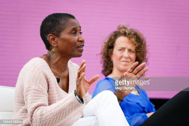 Executive Director of the National Basketball Players Association Michele Roberts speaks on the Women in Leadership panel at the espnW Summit held at...