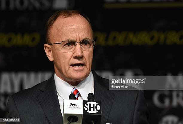 Executive Director of the Nevada State Athletic Commission Robert Bennett speaks during a news conference for the bout between WBC/WBA welterweight...