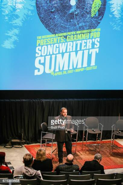 Executive Director of the PNW Chapter of The Recording Academy Michael Compton speaks at the GRAMMYPro Songwriter's Summit at Museum of Pop Culture...
