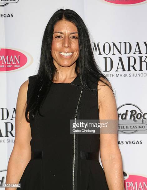 Executive director of the Rudy Foundation Cheryl Ruettiger arrives at Mondays Dark anniversary bash at The Joint inside the Hard Rock Hotel Casino on...