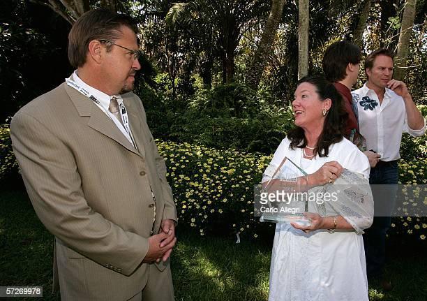 Executive Director of the Sarasota Film Festival Jody Kielbasa and actress Mary Badham talk at the Luncheon Under The Banyans during the Sarasota...
