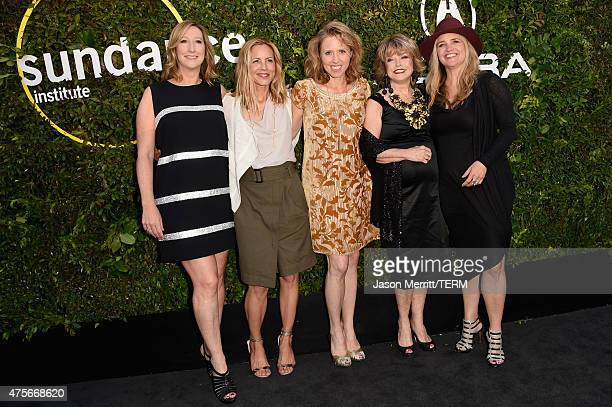 Executive Director of the Sundance Institute Keri Putnam actors Maria Bello Amy Redford Sundance Institute board chair Pat Mitchell and CEO and...
