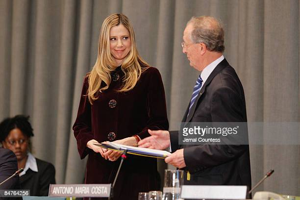 Executive Director of the United Nations Office on Drugs and Crime Antonio Maria Costa appoints actress Mira Sorvino as a UN Goodwill Ambassador on...