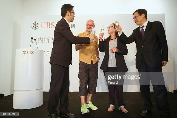 Executive Director of Today Art Museum Alex Gao, Swiss artist photographer Hannes Schmid, Curator Kornelia Imesch and Cheng Yisun, Managing Director...