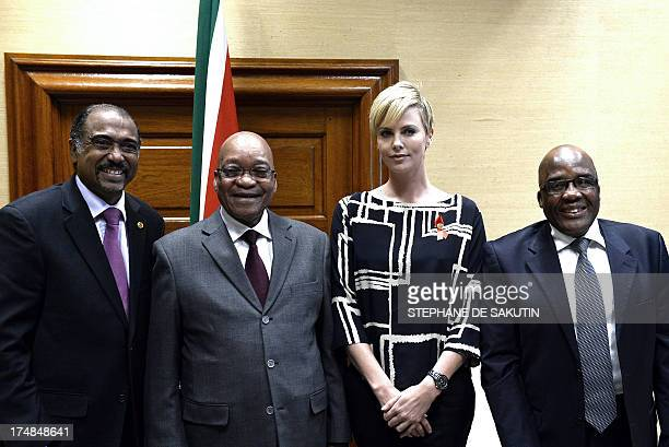 Executive Director of UNAIDS Michel Sidibe South African President Jacob Zuma South Africanborn Hollywood actress and UN Messenger of Peace Charlize...