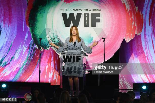 Executive Director of Women In Film Los Angeles Kirsten Schaffer wearing Max Mara during the Women In Film 2018 Crystal Lucy Awards presented by Max...