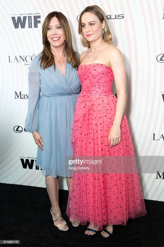 Executive Director of Women In Film, Los Angeles Kirsten Schaffer, wearing Max Mara, and Brie Larson attend Women In Film 2018 Crystal + Lucy Award at The Beverly Hilton Hotel on June 13, 2018 in Beverly Hills, California.