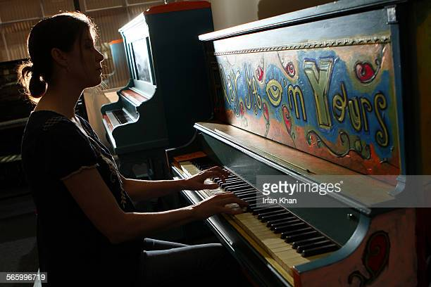 Executive director Rachel Fine plays one of many colorfully painted pianos at LA Chamber Orchestra in Los Angeles For the next three weeks 30...