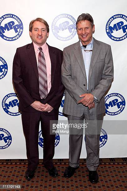 Executive Director Rob Kampia and former New Mexico Gov. Gary Johnson pose for a photo at The Marijuana Policy Project's 15th Anniversary Gala at the...