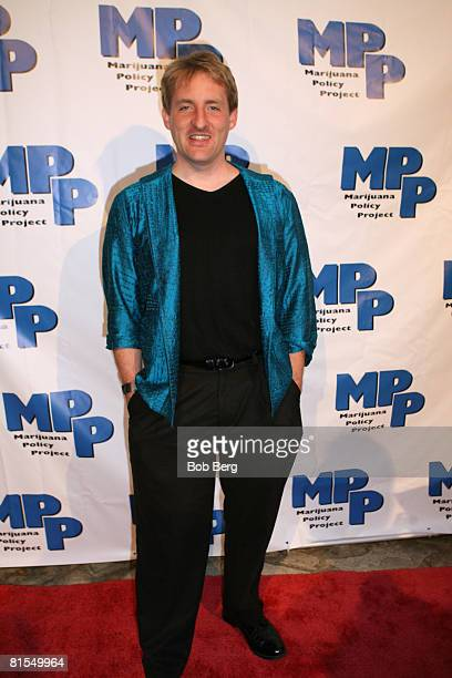 Executive Director Rob Kampia walks the red carpet at the Marijuana Policy Project's third annual party at thae Playboy Mansion on June 12 2008 in...