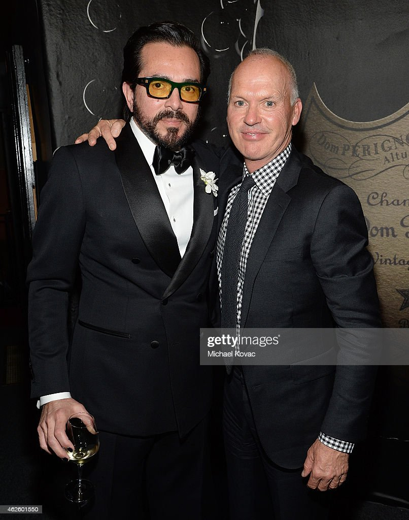 Executive Director Roger Durling (L) and actor Michael Keaton visit the Dom Perignon Lounge after Keaton received the Maltin Modern Master Award at The Santa Barbara International Film Festival on January 31, 2015 in Santa Barbara, California.