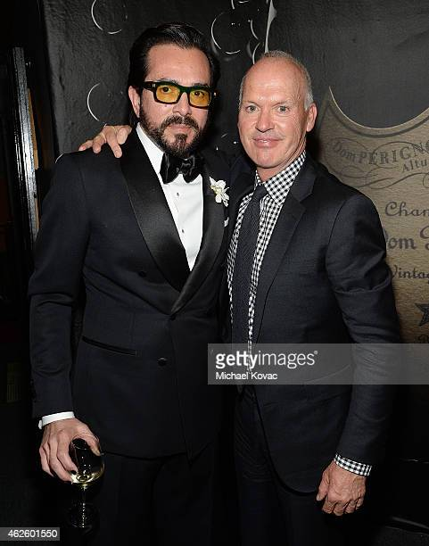 Executive Director Roger Durling and actor Michael Keaton visit the Dom Perignon Lounge after Keaton received the Maltin Modern Master Award at The...