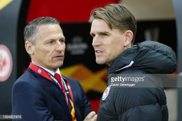 Executive Director Stephan Reiter and sportsdirector Christoph Freund of Salzburg during the UEFA Europa League Round of 32 match between RB Salzburg...