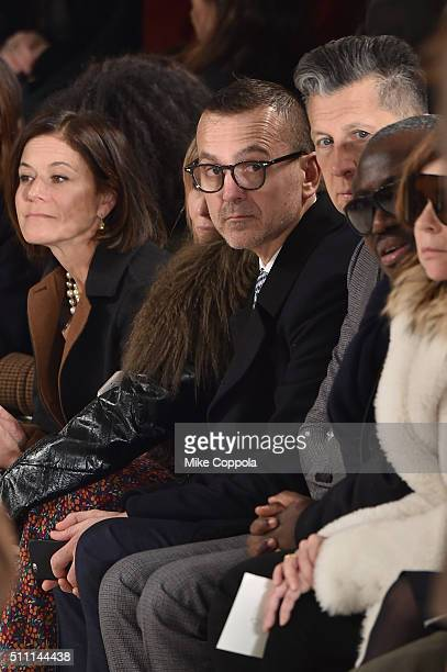 CFDA executive director Steven Kolb and Editor of W magazine Stefano Tonchi attend the Ralph Lauren Fall 2016 fashion show during New York Fashion...