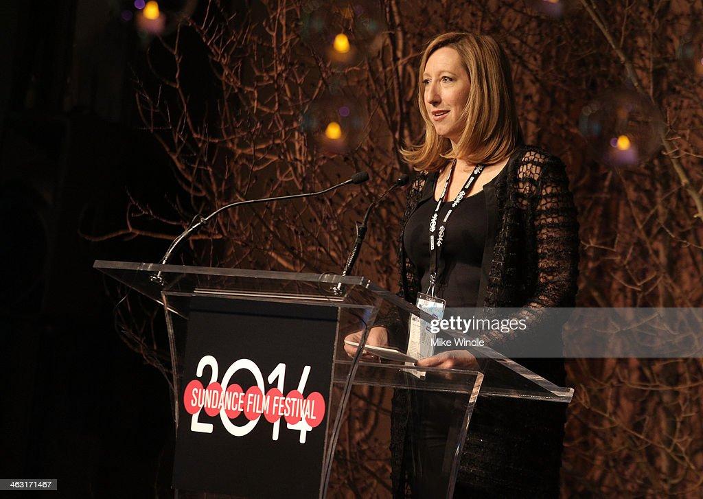 Executive Director Sundance Institute Keri Putnam speaks onstage at An Artist at the Table: Dinner Program during the 2014 Sundance Film Festival at Stein Eriksen Lodge on January 16, 2014 in Park City, Utah.