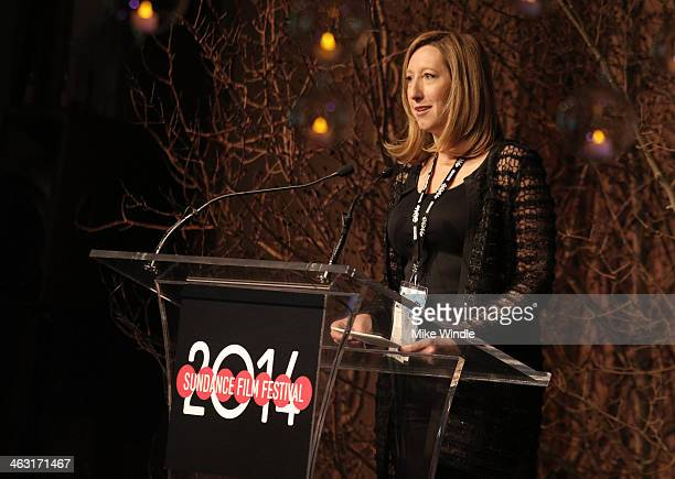 Executive Director Sundance Institute Keri Putnam speaks onstage at An Artist at the Table Dinner Program during the 2014 Sundance Film Festival at...