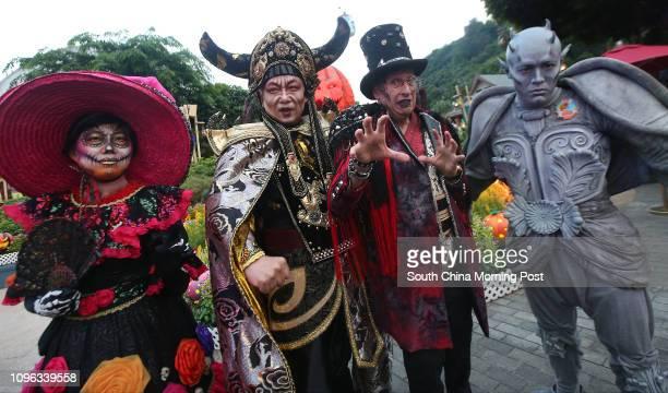 Executive director Vivian Lee chairman Leo Kung Lincheng former chairman Allan Zeman and vice chairman Lau Mingwai dress up for a Halloween event at...
