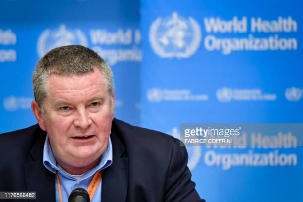 Executive director World Health Organization health emergencies programm Michael Ryan gives a press conference following an emergency committee...