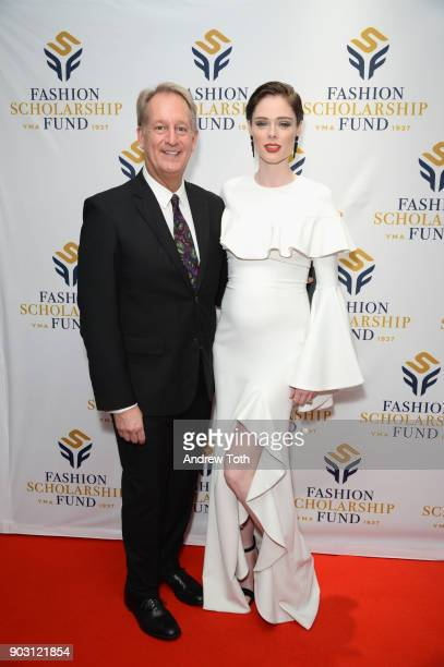 Executive Director YMA FSF Doug Evans and Presenter Model Coco Rocha attend the 81st Annual YMA Fashion Scholarship Fund National Merit Scholarship...
