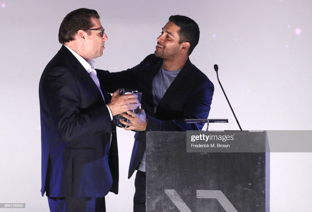 Executive Director/Honoree Mark Horowitz accepts the California Golden State Award from Wilmer Valderrama onstage at the 2018 Film In California Conference at Los Angeles Center Studios on May 5, 2018 in Los Angeles, California.