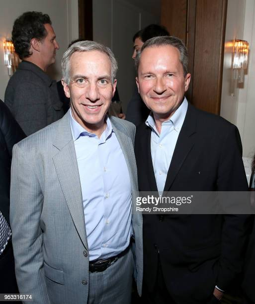 Executive Editor at STAT's Rick Berke and head of Public Affairs at GLG Richard Socarides attend GLG Social Impact Dinner At Milken at Cecconi's on...