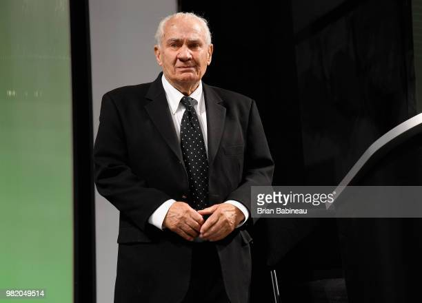 Executive Jim Gregory looks out to the audience onstage during the 2018 NHL Draft at American Airlines Center on June 23 2018 in Dallas Texas