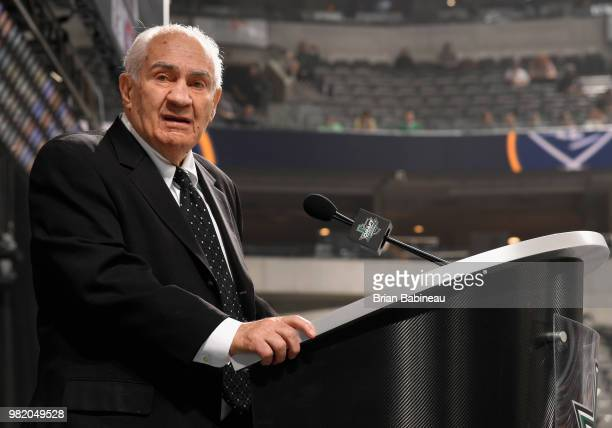 Executive Jim Gregory speaks onstage during the 2018 NHL Draft at American Airlines Center on June 23 2018 in Dallas Texas