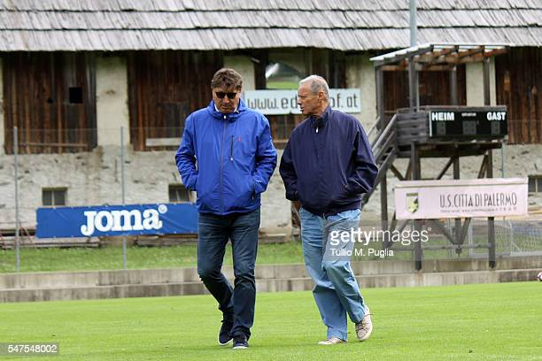 Executive Manager Angelo Baiguera and President Maurizio Zamparini look on at Sportarena, US Citta' di Palermo training camp base on July 15, 2016 in...