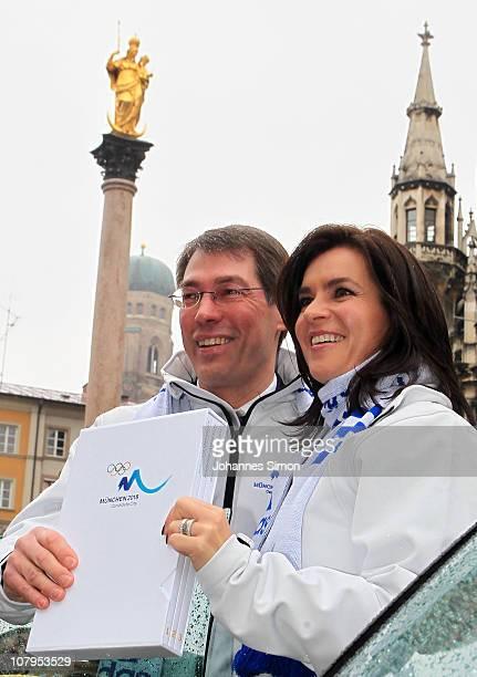 Executive manager of the Munich 2018 bid company Bernhard Schwank and former German figure skater and chairwoman Munich 2018 Katarina Witt present...