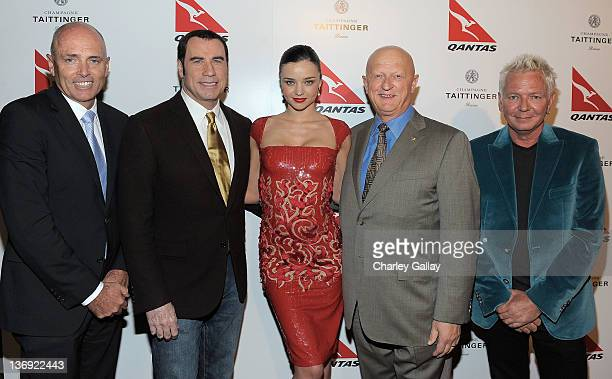 Executive Manager, Qantas Stephen Thompson, actor John Travolta, new Qantas Ambassador Miranda Kerr, VP of the Americas, Qantas Wally Mariani and...