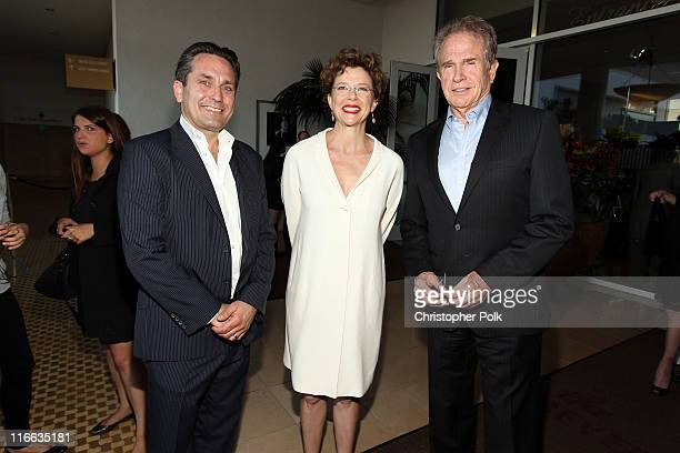 Executive Marketing Director of PANDORA Mikkel Berg actress Annette Bening and actor Warren Beatty during the 2011 Women In Film Crystal Lucy Awards...
