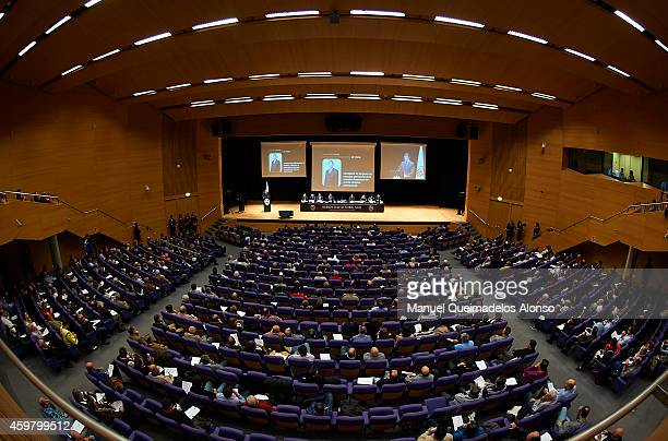 Executive President Amadeo Salvo of Valencia CF delivers a speech during the Extraordinary General Meeting for Shareholders at the Palacio de...