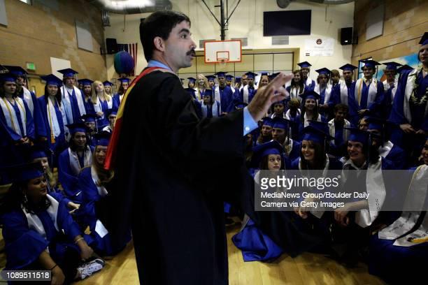 Executive Principal Tony Fontana gives a quick last speech to the senior class before the 2008 Peak to Peak graduation at Peak to Peak Charter School...