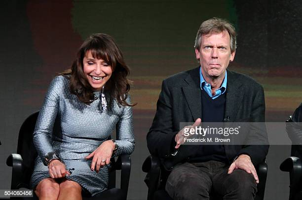 Executive Produce/Director Susanne Bier and actor Hugh Laurie speak onstage during The Night Manager panel as part of the AMC Networks portion of...