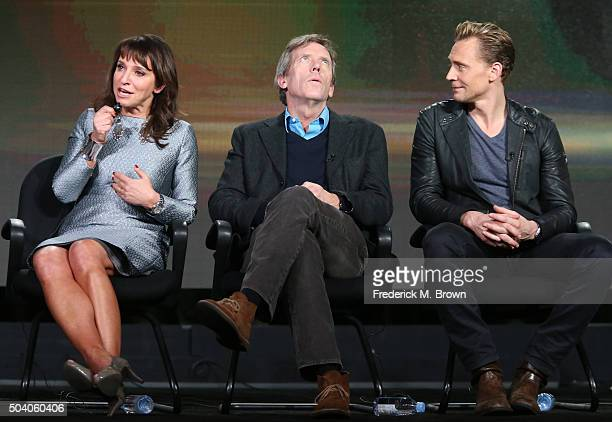Executive Produce/Director Susanne Bier and actors Hugh Laurie and Tom Hiddleston speak onstage during The Night Manager panel as part of the AMC...