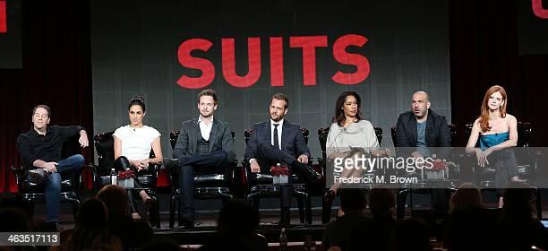 Executive producer Aaron Korsh, actress Meghan Markle, actor Patrick J. Adams, actor Gabriel Macht, actress Gina Torres, actor Rick Hoffman, and...