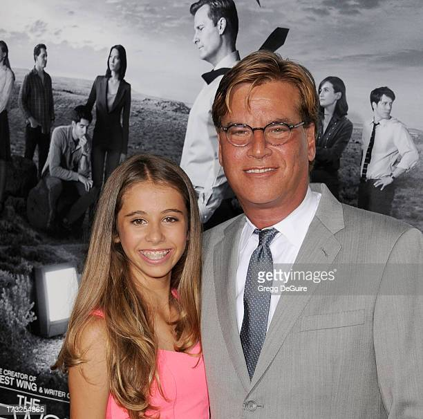 """Executive producer Aaron Sorkin and daughter Roxy arrive at the Los Angeles Season 2 premiere of HBO's series """"The Newsroom"""" at Paramount Studios on..."""