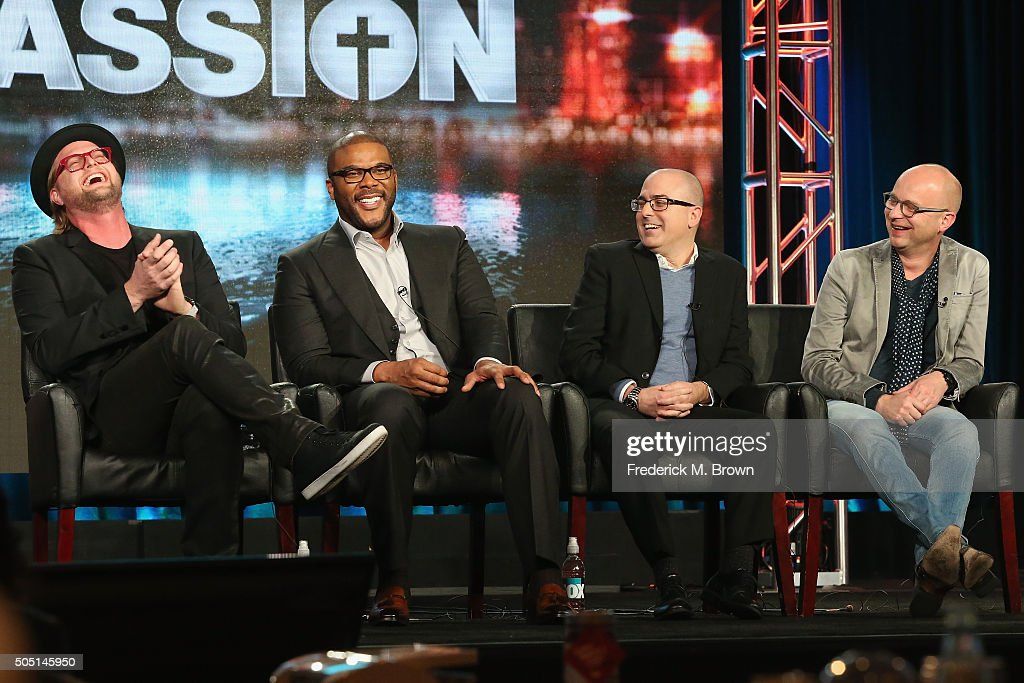 Executive Producer Adam Anders, Host/Narrator Tyler Perry, Executive Producer Mark Bracco and Executive Producer/Creator Jacco Doornbos speak onstage during 'The Passion' panel discussion at the FOX portion of the 2015 Winter TCA Tour at the Langham Huntington Hotel on January 15, 2016 in Pasadena, California