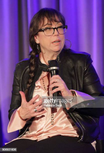 Executive producer Aimee Hyatt speaks onstage at Reel to Reel If You're Not in the Obit Eat Breakfast at The GRAMMY Museum on January 18 2018 in Los...